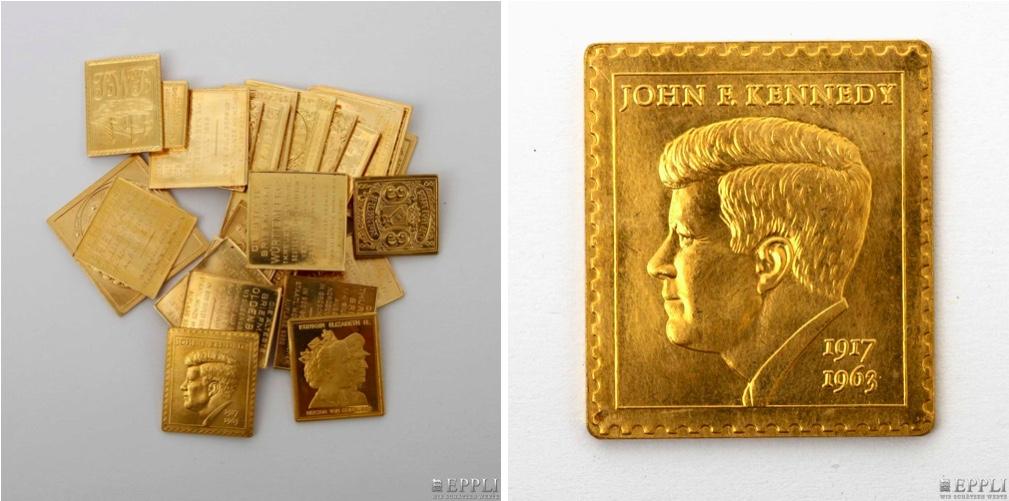 """25 Goldbriefmarken, Schwerpunkt """"Die ältesten Briefmarken"""""""