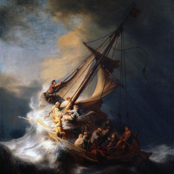 Rembrandt van Rijn, Kristus i stormen på Galileiska sjön (fritt översatt), 1633.