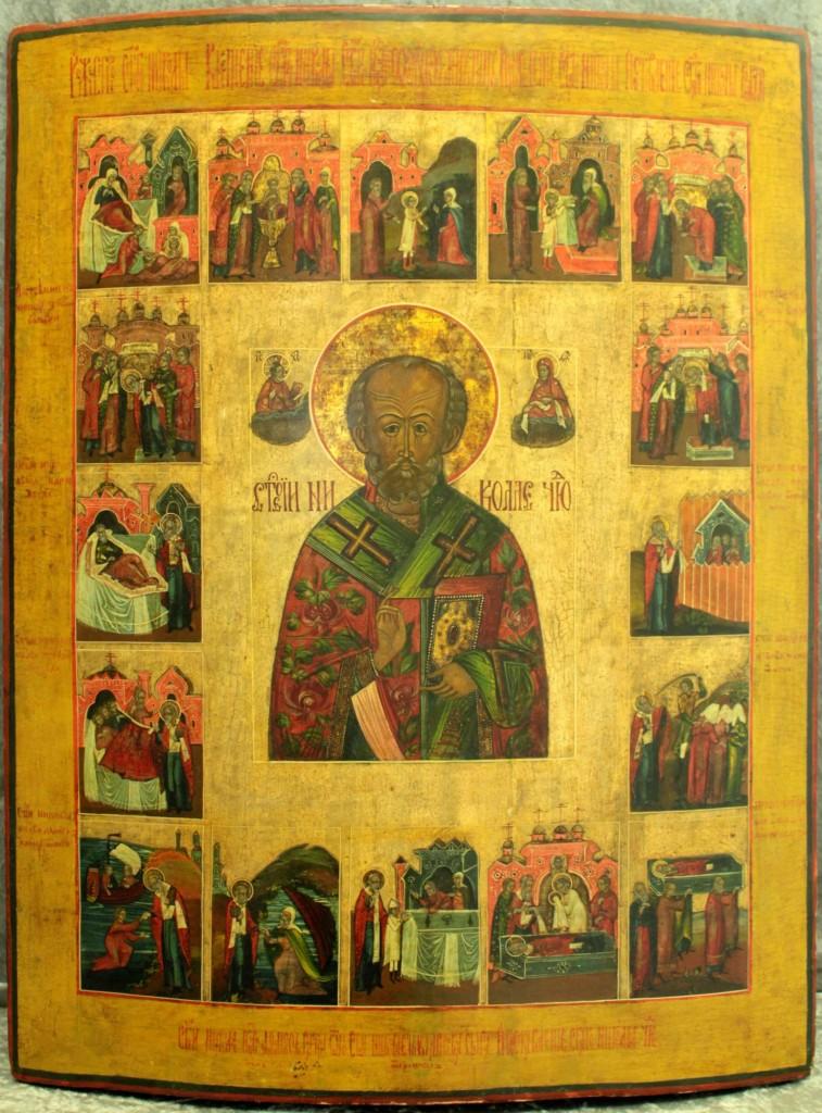 """Großformatige Ikone """"Heiliger Nikolaus in Vita"""", Eitempera/Kreidegrund, 54 x 70,5 cm, Russland um 1800 Mindestpreis: 4.000 EUR"""
