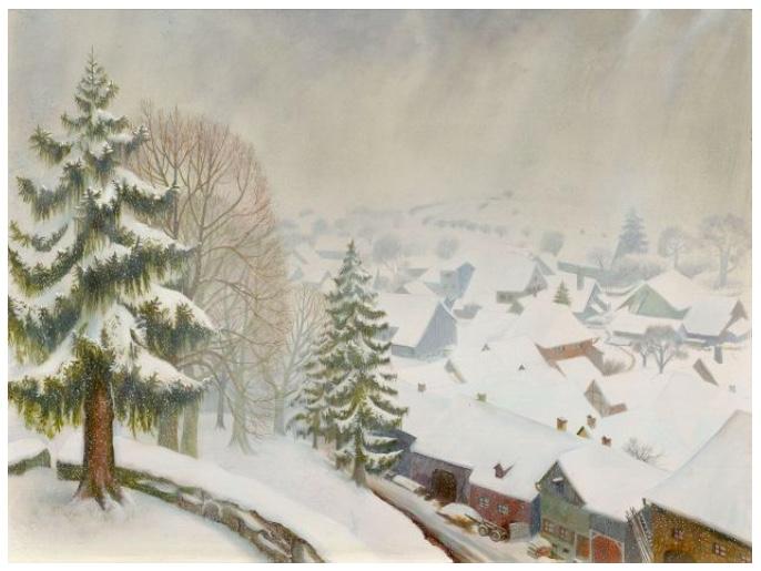OTTO DIX (1891 Untermhaus - 1969 Singen) - Wintertag in Randegg, Mischtechnik/Holz, monogrammiert und datiert, 1933