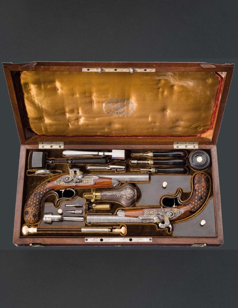 Par de pistolas de percusión de lujo (1850). Precio de salida: 28.000 €