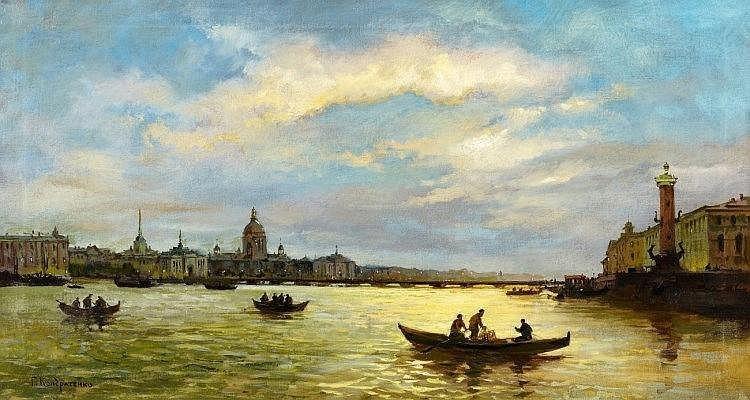 Målning av Gawriil Pawlowitsch Kondratjenko, Evening Mood vid Newa i St. Petersburg Utrop: 658 000 SEK Lempertz