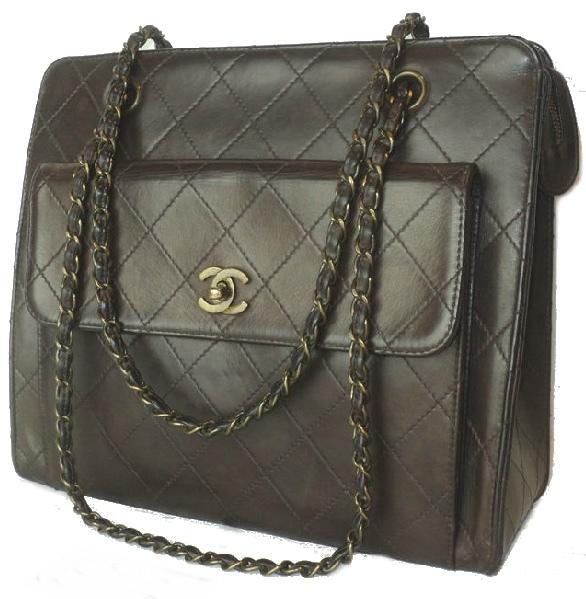Chanel dark brown diamond quilted front pocket CC turn lock hand/shoulder bag, 1997-99