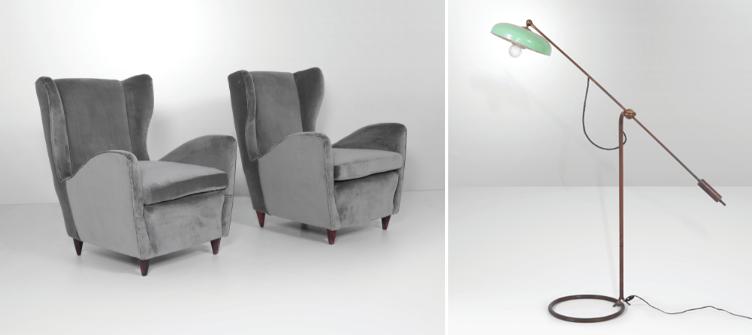 À gauche: Paire de fauteuils avec structure en bois et revêtement en tissu, Gio Ponti À droite: lampadaire avec structure en laiton et diffuseur en aluminium laqué par Angelo Lelii (Prod.Arredoluce, Italie, vers 1950)