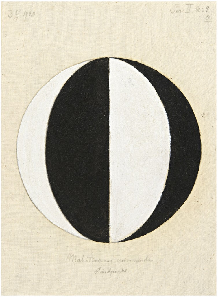 HaK469, Nr. 2a, Der aktuelle Standpunkt der Mahatmas, Serie II, 1920, 36,5x27cm, Öl/Lwd. © The Hilma af Klint Foundation, Foto: Moderna Museet, Stockholm