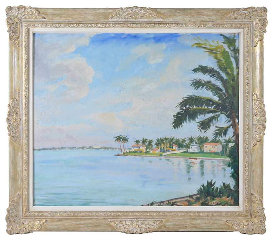 Sir Winston Churchill, O.M., R.A. (British, 1874-1965) Scene from the Venetian Causeway, Miami Beach, Florida, 1946, oil on canvas, signed with initials
