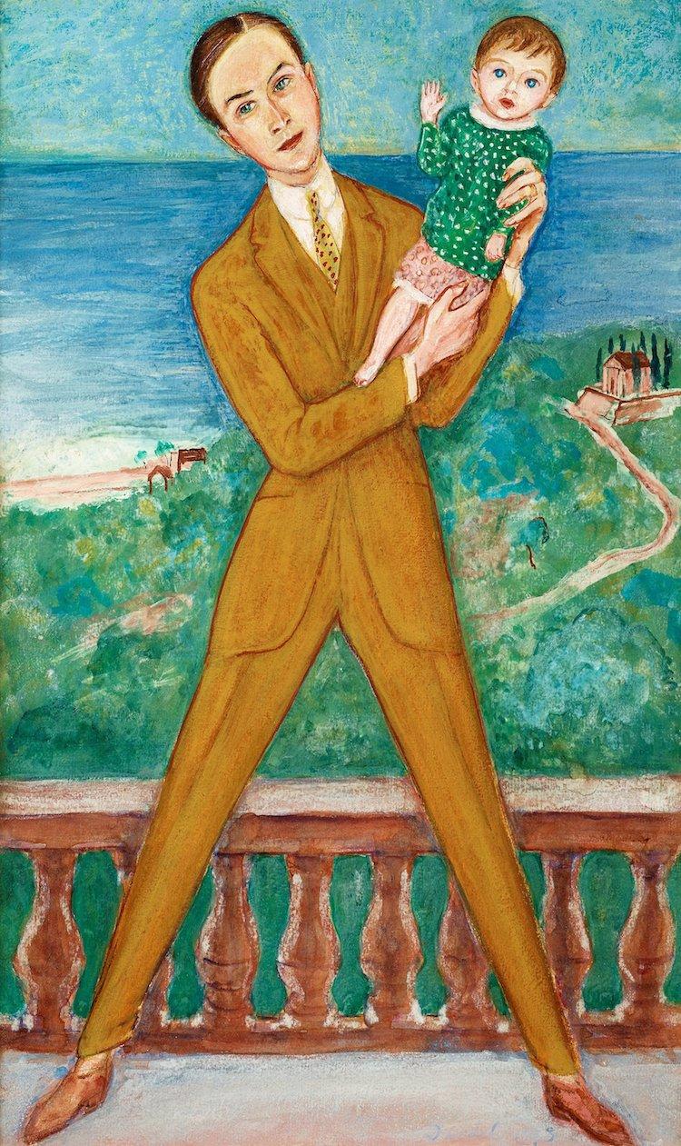 """68. NILS VON DARDEL, """"MIN DOTTER"""". Signerad Dardel och daterad 1923. Akvarell på papper 45 x 28 cm. Utrop: 800 000 - 1 000 000 SEK"""