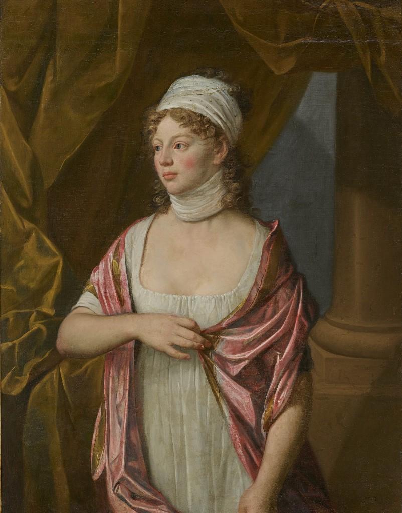 Kat.-Nr. 305 WILHELM BÖTTNER (1752 – 1805) - Königin Luise von Preußen (1776 – 1810), Dreiviertelfigur nach links stehend, vor einer Säule und Vorhangdraperie, Öl/Lwd., 97,2 × 74,3 cm Schätzpreis: 18.000-22.000 EUR