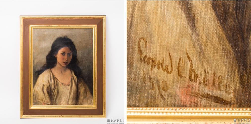 LEOPOLD CARL MÜLLER (1834 Dresden - 1892 Wien) - Bildnis einer jungen Frau, Öl/Lwd., signiert und datiert, 1870