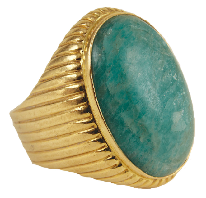 Elvis Presley Owned & Worn 18kt Gold Oval Adventurine Quartz Ring