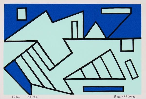 """Olle Baertlings """"Effets Cinétiques från 1950 är en av de tidiga seriegrafierna i mappen som visas i utställningen """"The Angles of Baertling"""" 9-25 november hos Galleri Melefors"""