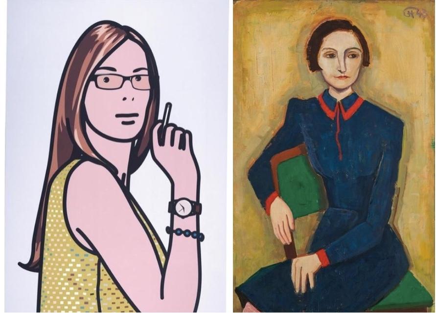 Vänster: JULIAN OPIE (1958-) 'Ruth med en cigarett 2'. Signerad 2005. Höger:: KARL HOFER (1878–1955) - 'Porträtt av Elisabeth Hofer', Öl/Lwd, daterad 1943.