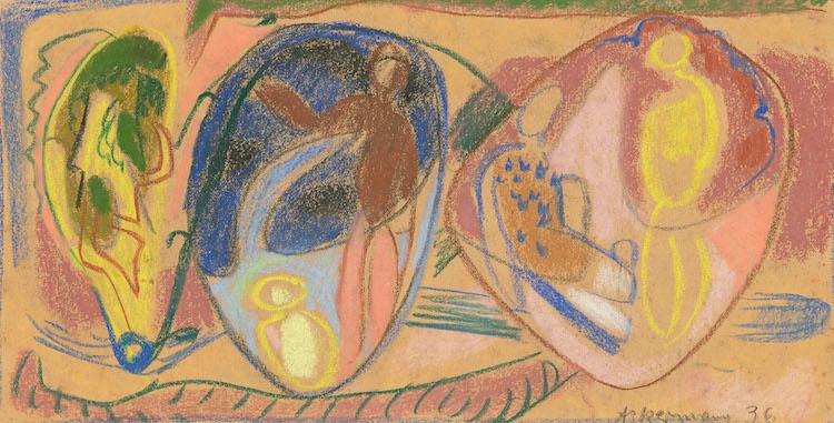 Max Ackermann. Untitled. 1936. Coloured chalk on brownish paper. Precio mínimo estimado: 2 500 EUR Grisebach