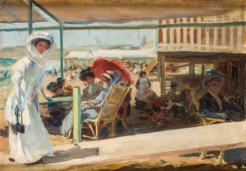 """Julio Vila y Prades (Valencia 1873 - Barcelona 1930). """"En la playa"""""""