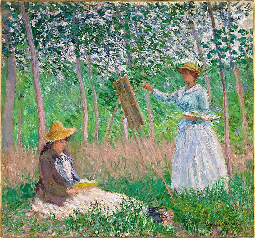 """Claude Monet, """"In the Woods at Giverny: Blanche Hoschedé at Her Easel with Suzanne Hoschedé Reading"""", 1887. Bild Los Angeles County Museum of Art"""