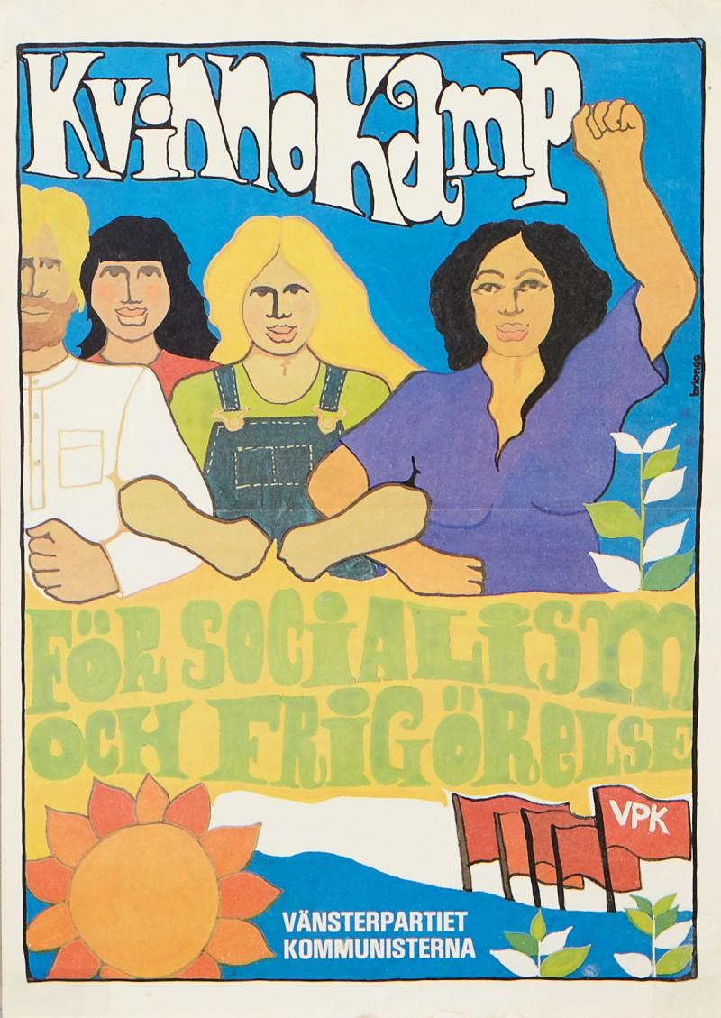 """Lucia Briones, """"Kvinnokamp"""". Valaffisch för VPK år 1979. Via Stockholms Auktionsverk."""