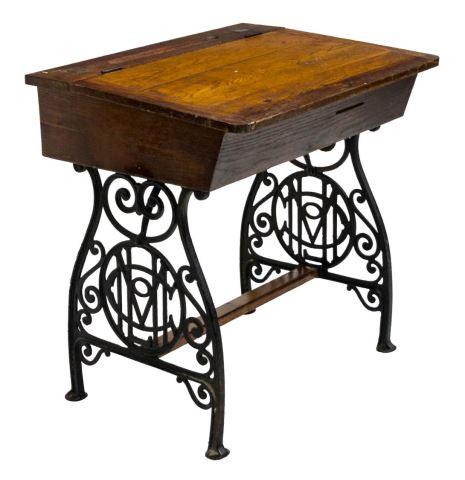 American Victorian oak and iron school desk, 19th centuryAustin Auction Gallery