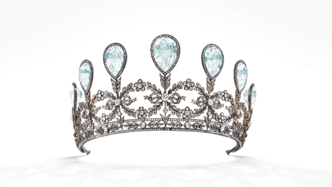 Tiaran med diamanter och akvamariner som skapats av Fabergé. Foto: Christie's