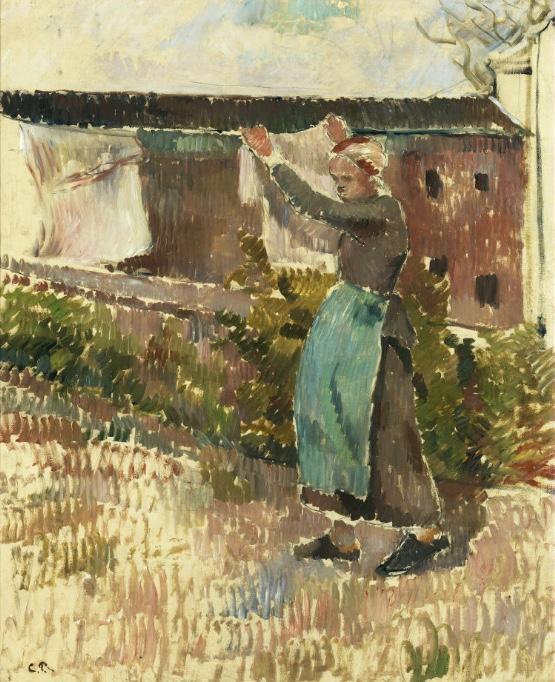 CAMILLE PISSARRO (1830 Charlotte Amalie, Dänisch-Westindien – 1903 Paris) - Femme étendant du ligne, Öl/Lwd., 73 x 60 cm, monogrammiert, 1887 Schätzpreis: 450.000-550.000 EUR