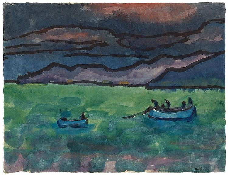 EMIL NOLDE ( 1867 Nolde - 1956 Seebüll) - See mit zwei blauen Booten vor Berglandschaft, Aquarell u. Tuschpinsel/Japanbütten, signiert, um 1925/30