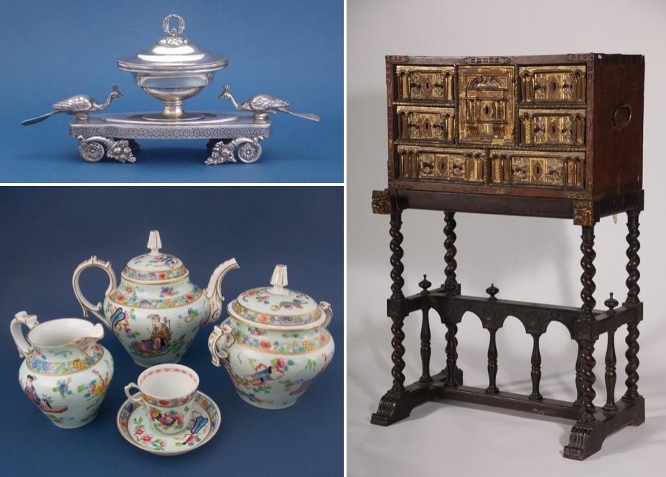 Överst till vänster: Skål i silver, dekorerad med blommor, blad och fasaner. Utrop: 2.700 sek. Nederst till vänster: Servis i porslin, Kina. Utrop: 2.700 sek. Höger: Skåp, Bargueño, trä, järn, guld och handmålad dekor, Spanien, Salamanca 1600-talet. Utrop: 17.700 sek.