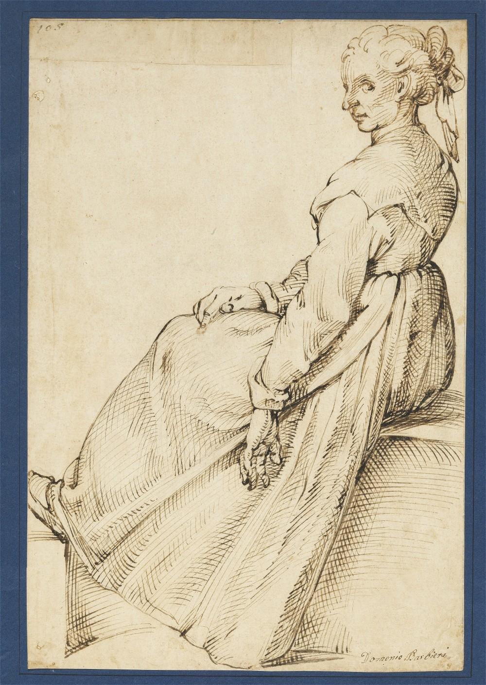 Bartolomeo Passarotti « A seated woman looking backwards », image ©Bruun Rasmussen