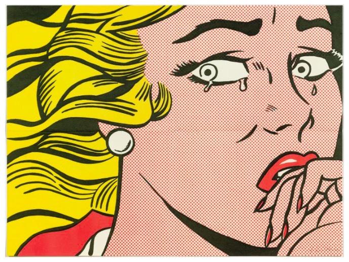 """ROY LICHTENSTEIN (1923 New York 1997) - 2 Blätter """"Crying Girl"""", Farboffsets, 1963"""