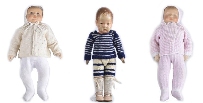 Links: Du Mein, 1980er Jahre Mitte: Puppe Nr. 1 Rechts: Träumerchen