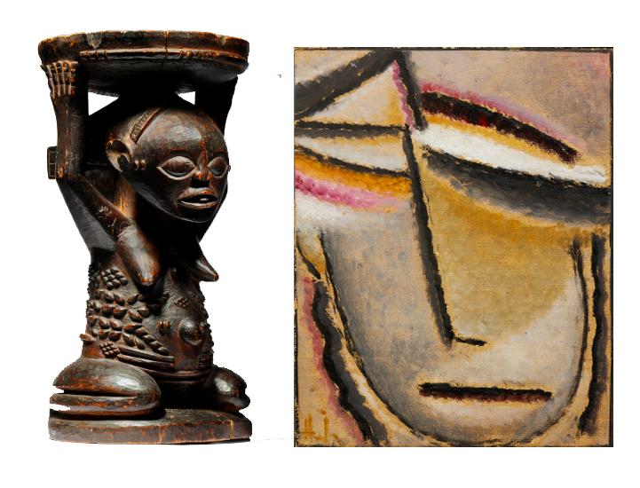 """Links: Luba-Hocker aus dem Kongo (1860-1885) Rechts: """"Abstrakter Kopf"""" von Alexej von Jawlensky (1927)"""