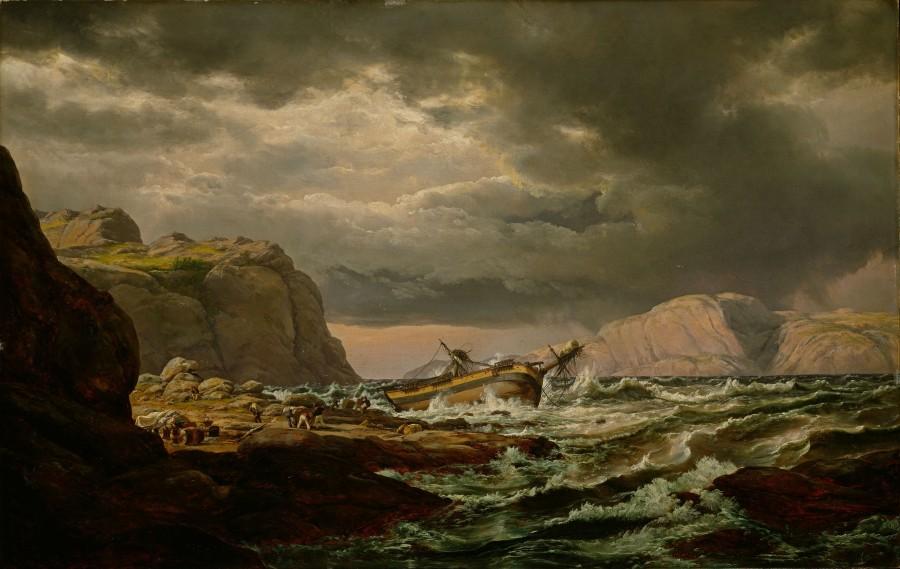 Johan Christian Dahl, Skibbsvrak vid den norska kusten(1832) Foto via Wikipedia.