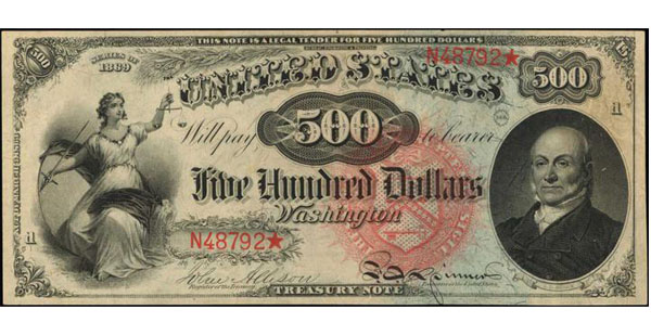 1869 $500 Rainbow Legal Tender Note. Photo: Stack's Bowers