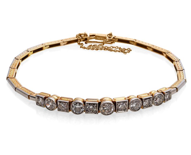 Armband med gammalslipade diamanter, cirka 1,60K. Fast pris: 35 000 kr. Kurt Ribbhagen.