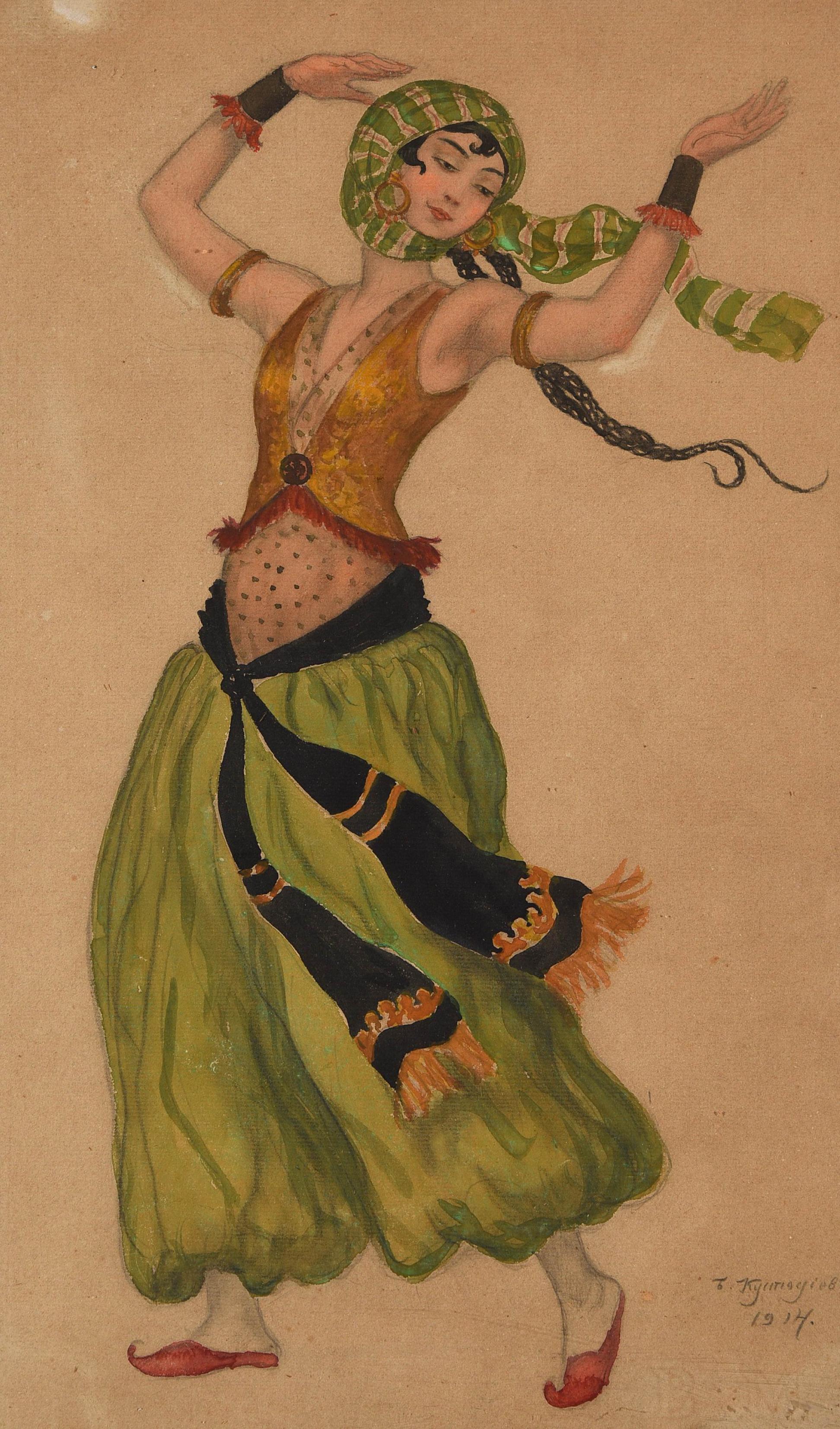Boris Mikhaïlovitch Koustodiev (1878-1927), projet de costume probablement pour le personnage de Salomé dans «La tragédie de Salomé», 1914, image ©HVMC