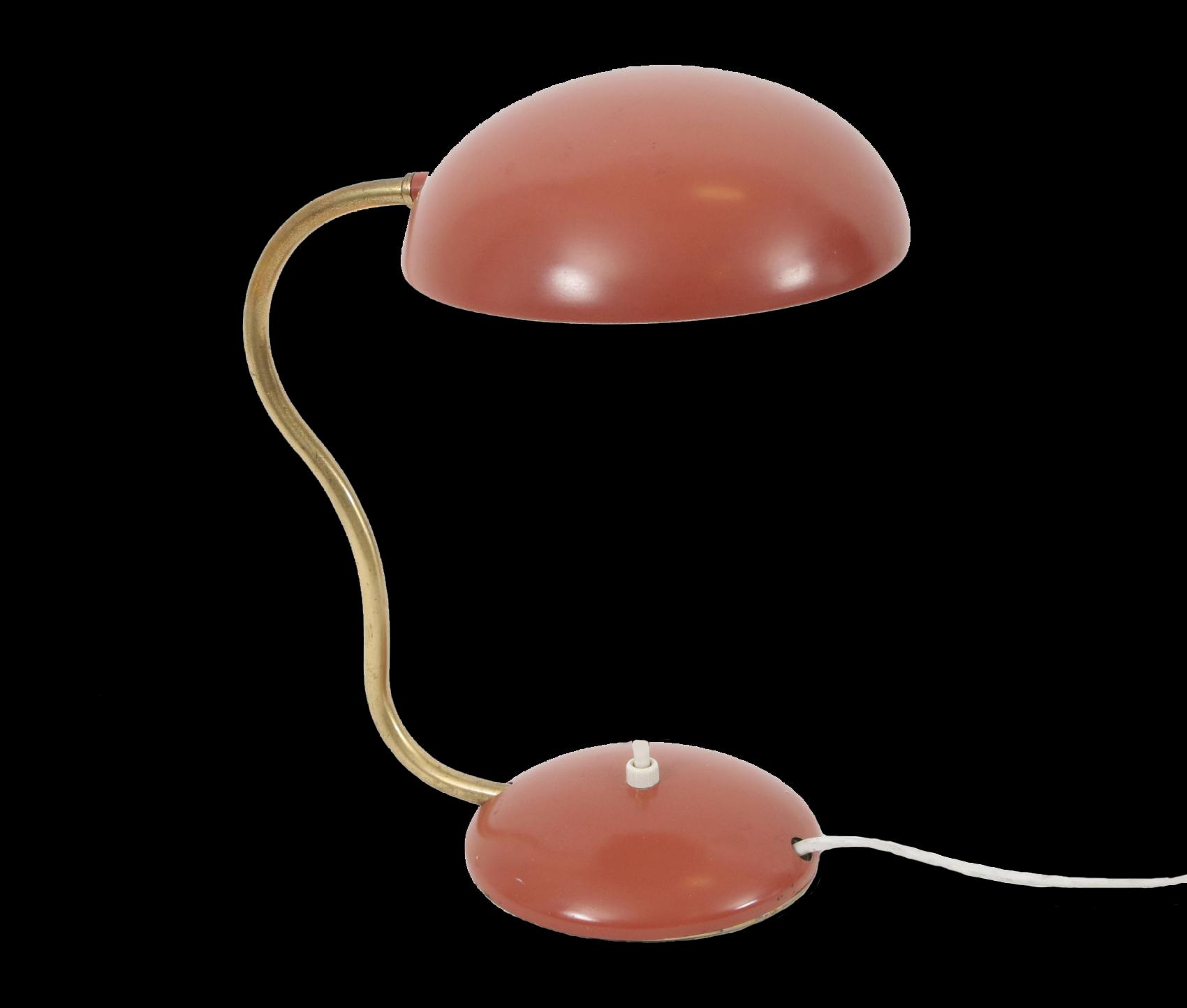 Bordslampa, funkis, 1940-tal. Rödlackad plåt och mässing. Mindre färgslitage. (Höjd 28) Startpris: 100 Sek. Dalarnas Auktionsbyrå
