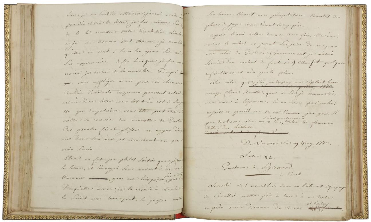 Jean-Paul Marat, signed manuscript, Les Avantures du Jeune Conte Potowski. Photo via Ader-Nordmann