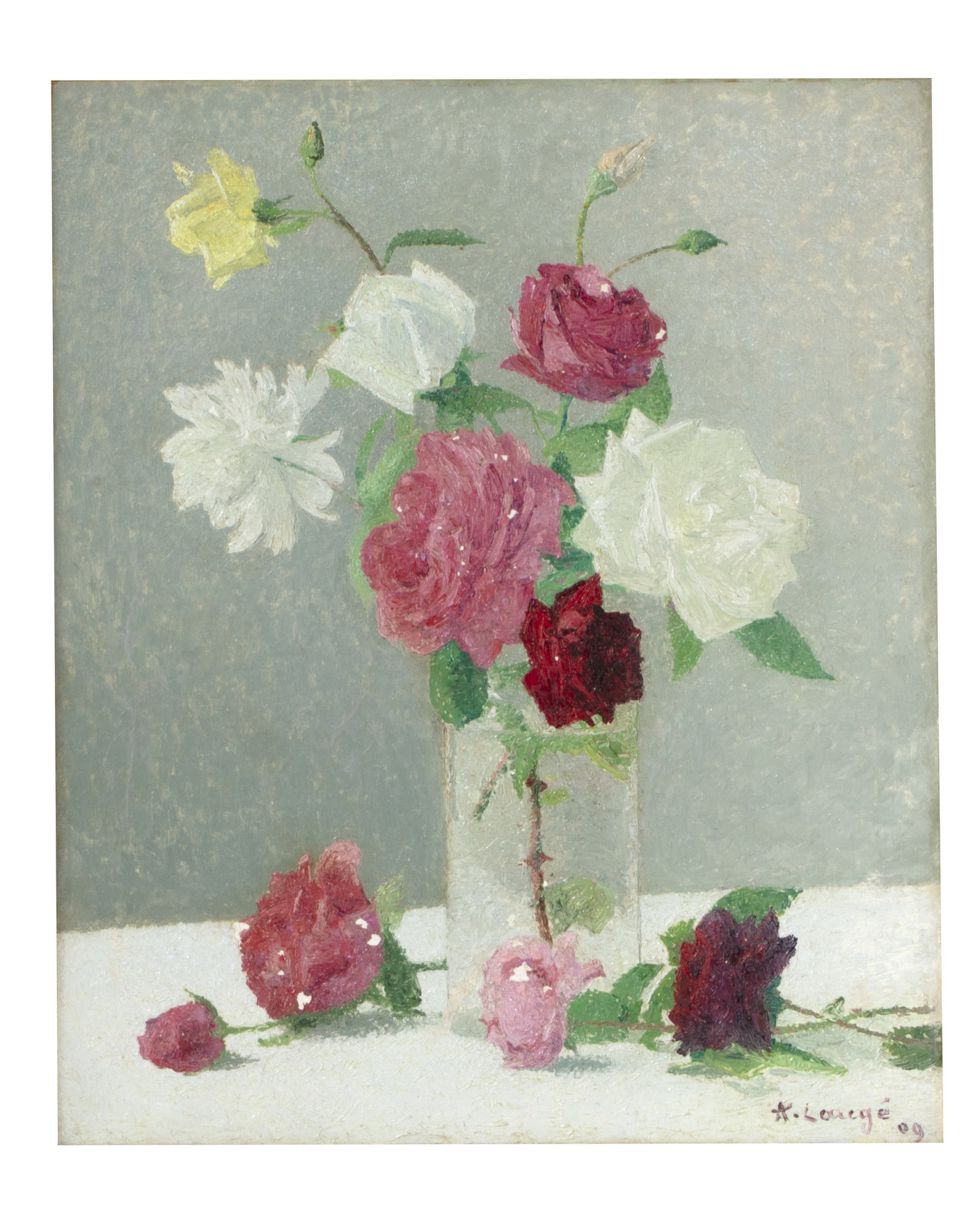 Oil on canvas by Achille Laugé (French, 1861-1944), titled Nature Morte au Bouquet de Roses, signed and dated 'A. Laugé' lower right (est. $7,000-$9,000).