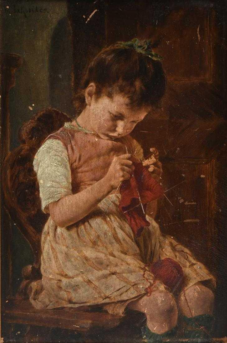 Georg (or Georgios) Jakobides, 'Little Girl Knitting', 1924, oil on canvas. Photo: Simpson Galleries