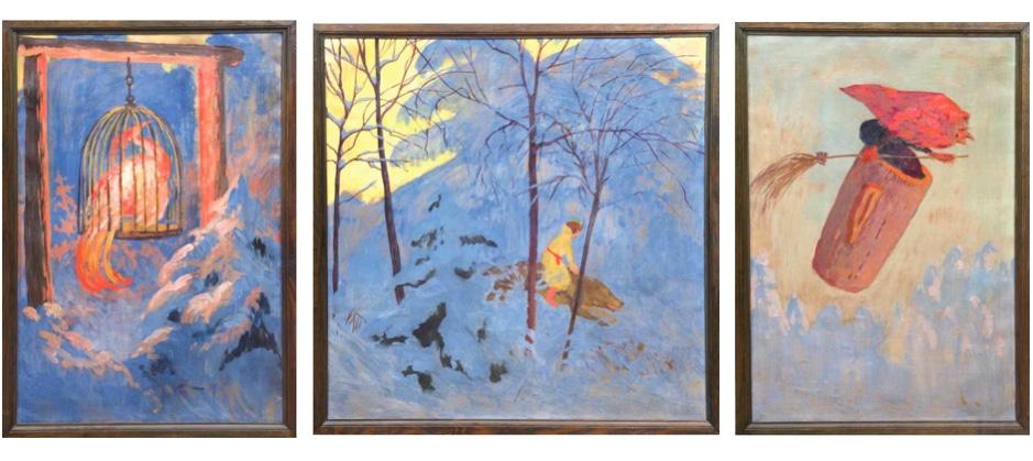 Russischer Maler - 9 Motive aus russischen Märchen, Öl/Lwd. oder Öl/Karton, um 1900