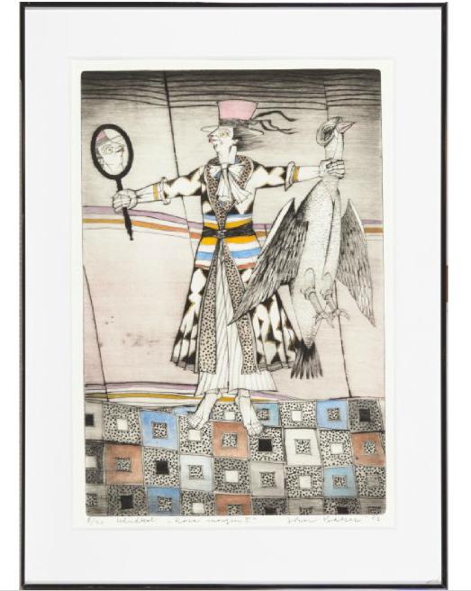 """Jan Baker """"Rosa morgen II"""" 1983 Håndkolorert etsning, 8/30, 56x39 cm Utrop: 1,000 Sek. Blomqvist"""