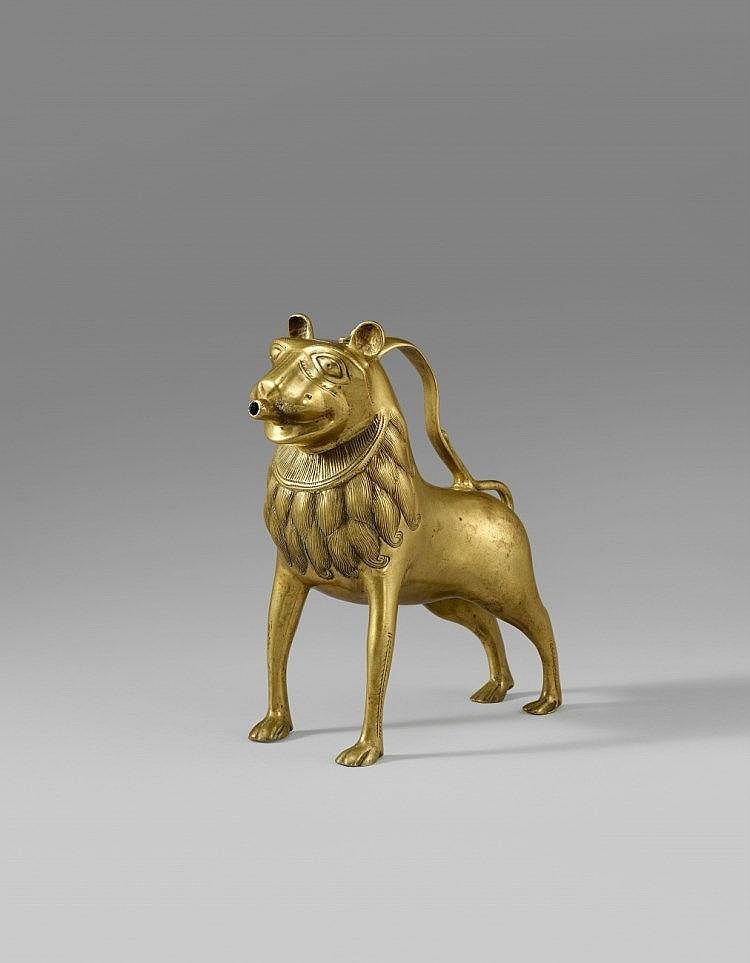 A 13th century North German aquamanile formed as a lion