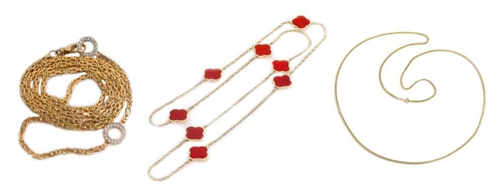 Links: Goldkette mit Diamanten|Eragem Mitte: Kette mit Karneolen|Eppli Rechts: Gelbgoldkette|Hofer
