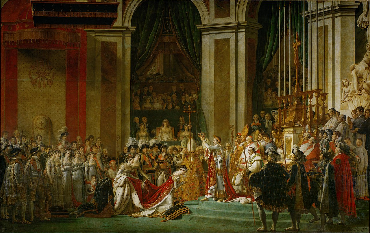 The Coronation of Napoleon, Jacques-Louis David. 1805-7, oil on canvas. Imaged: Wiki Commons