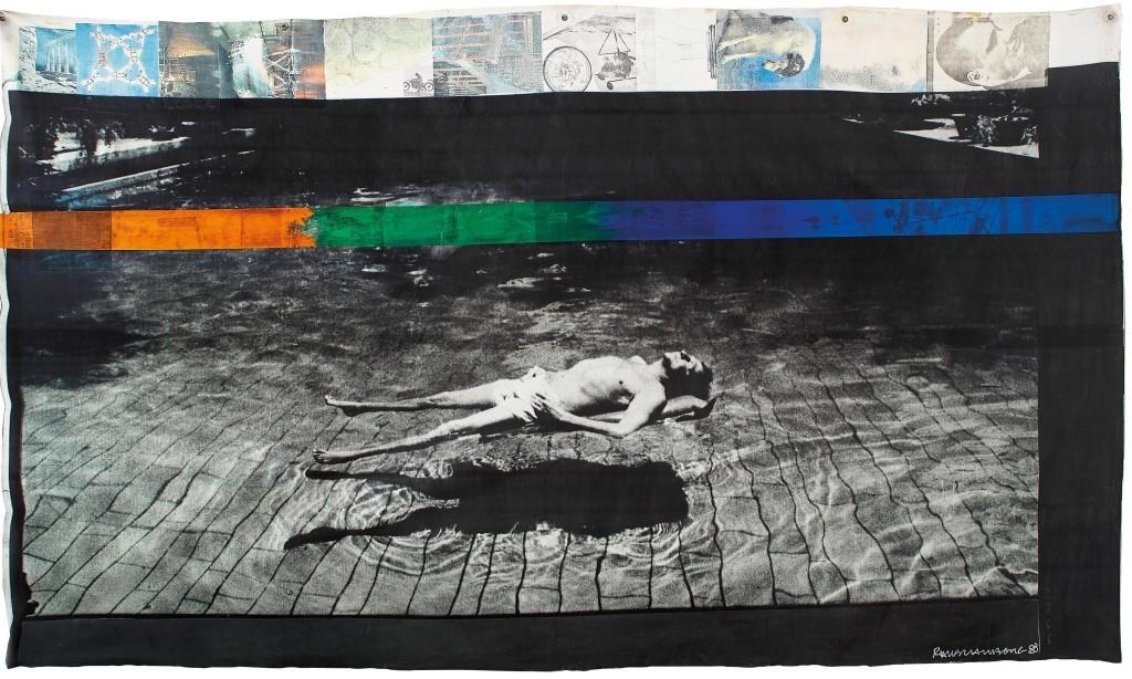 ROBERT RAUSCHENBERG, Untitled, acrylique sur une photo agrandie de Gianfranco Gorgoni, sur toile, 185 x 322 cm Signé 1988 Estimation: 200,000-250,000 EUR