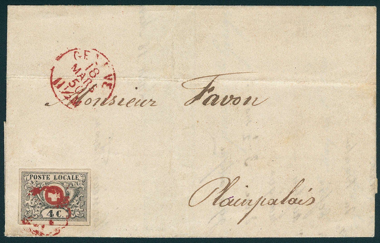 """Schweiz - 4 C-Marke, sog. """"Waadt"""" auf Brief von 1850"""