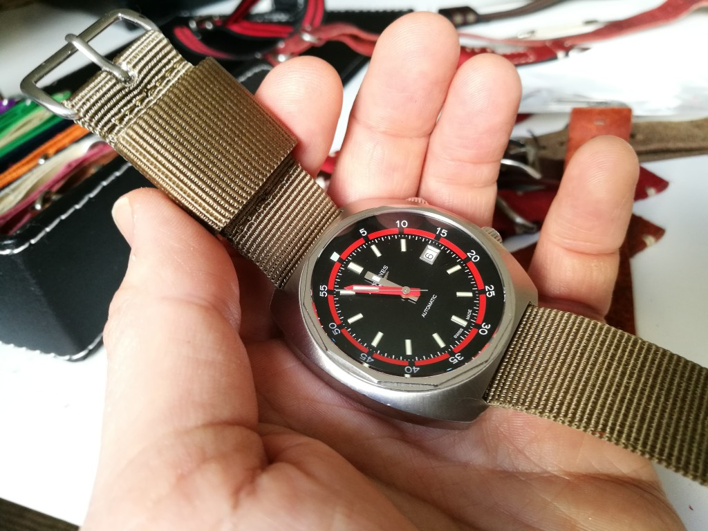 """Palmshot of the Original Natostrap Khaki(Longines Heritage Diver). Check out the massive """"keeper""""."""