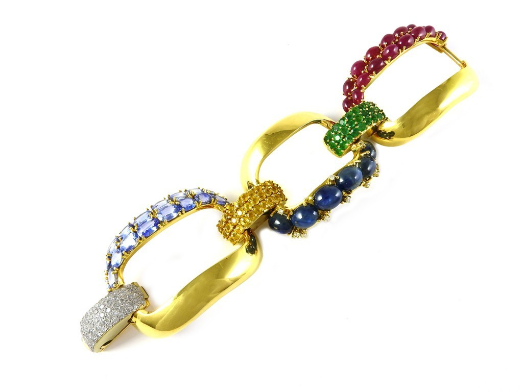 Bracelet in yellow gold with rubies, sapphires, emeralds and diamonds
