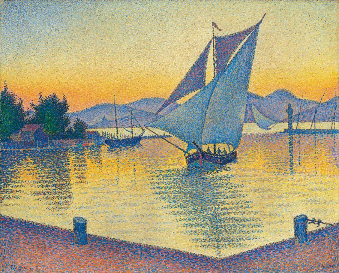 Paul Signac, Le Port au soleil couchant, Opus 236 (Saint-Tropez), 1892, image © Christie's