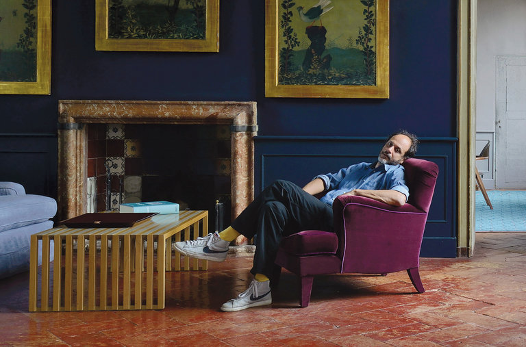 Luca Guadagnino at his home in Crema. Photo via New York Times