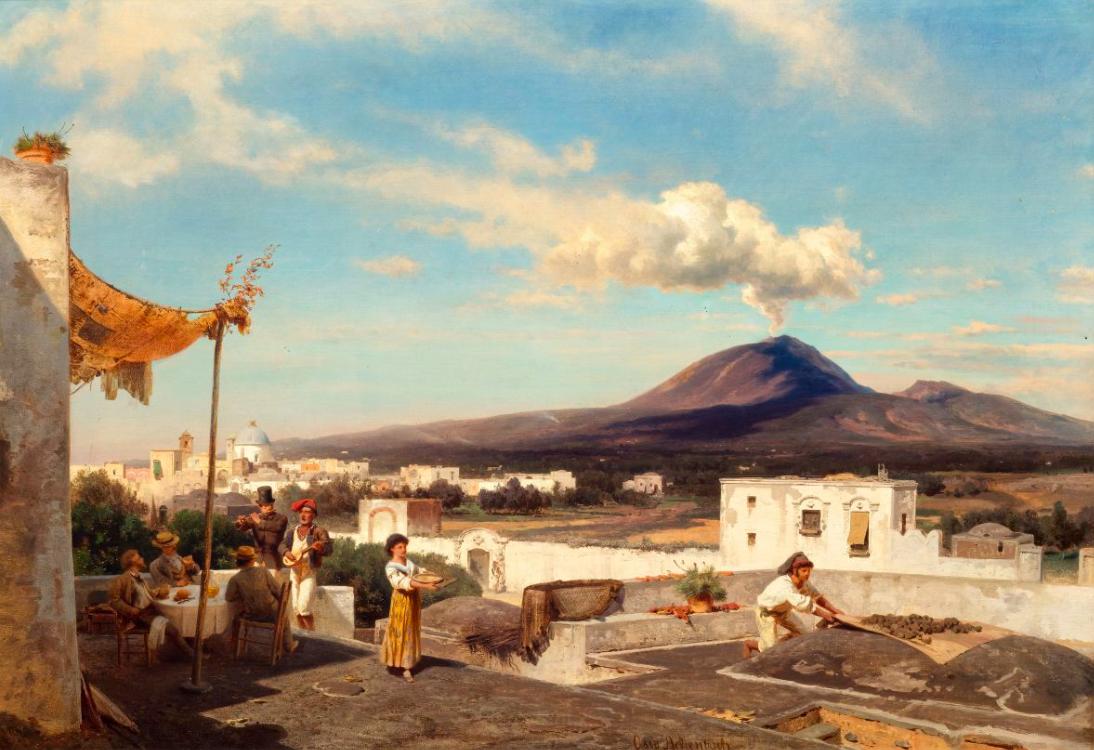 OSWALD ACHENBACH. Fröhliche Gesellschaft in der Campagna mit Blick auf den Vesuv. Imagen vía: Koller