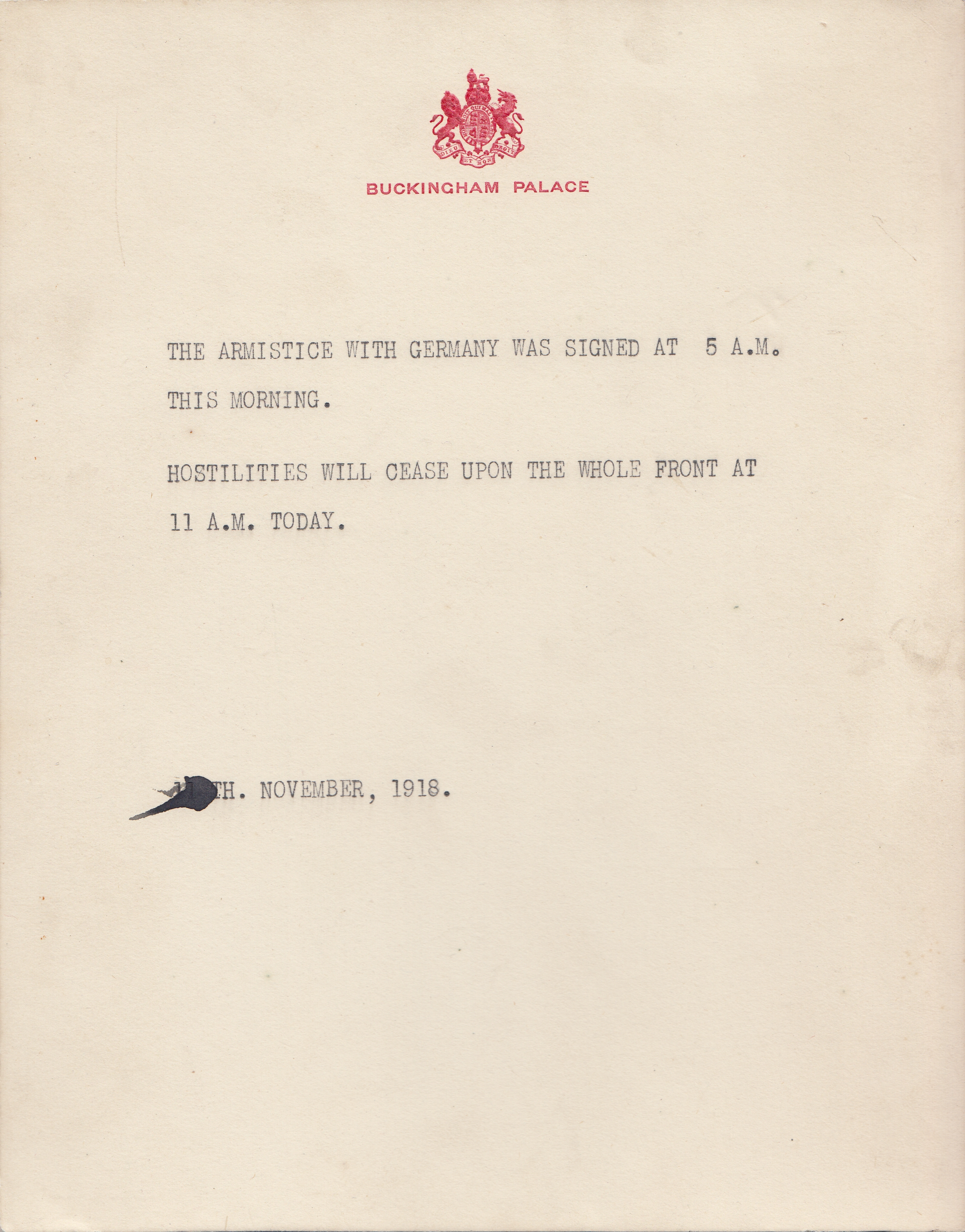 Buckingham Palace public notice to confirm the end of WWI. Photo: Henry Aldridge & Son